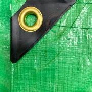 Green Poly Tarp corner reinforcement detail